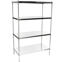 Regency 24 inch x 48 inch NSF Stainless Steel Solid Shelf Kit with 74 inch Posts