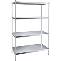 Regency 24 inch x 48 inch NSF Stainless Steel Solid 4-Shelf Kit with 74 inch Posts