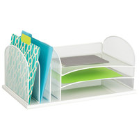 Safco 3254WH 19 1/2 inch x 11 1/2 inch x 8 1/4 inch White 6 Section Steel Mesh Desk Organizer