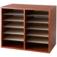 Safco 9420CY 19 1/2 inch x 12 inch x 16 inch Cherry Finish 12 Compartment Literature Organizer