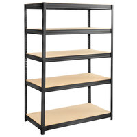 Safco 6244BL Black 5 Particleboard Shelf Commercial Steel Boltless Shelving Unit - 48 inch x 24 inch x 72 inch