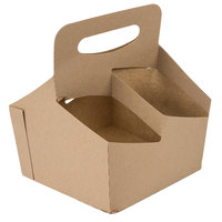 4 Cup Kraft Pop-Up 44 oz. Drink Carrier   - 50/Pack