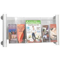Safco 4133SL Clear and Silver 3-Compartment Wall-Mount Display Rack - 13 3/4 inch x 5 inch x 15 1/4 inch