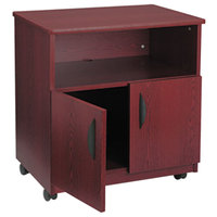 Safco 1850MH Mahogany Laminate Machine Stand with 2-Door Cabinet and Open Compartment - 28 inch x 19 3/4 inch x 30 1/2 inch