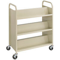 Safco 5357SA 36 inch x 18 1/2 inch Sand Six-Shelf Book Cart