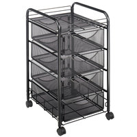 Safco 5214BL 15 3/4 inch x 17 inch Black Onyx Mesh Four-Drawer File Cart