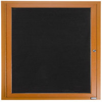 Aarco OADCO3636R 36 inch x 36 inch Enclosed Hinged Locking 1 Door Aluminum with Powder Coated Oak Finish Outdoor Directory Board with Black Vinyl Letter Board