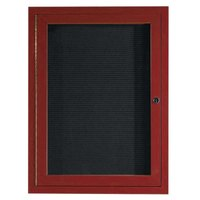 Aarco ADCW3624R 36 inch x 24 inch Enclosed Hinged Locking 1 Door Cherry Finish Aluminum Indoor Directory Board with Felt Rear Panel