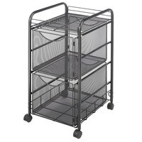 Safco 5212BL Onyx Black Mesh Mobile Double File Cube with Shelf - 15 3/4 inch x 17 inch x 27 inch