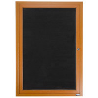 Aarco ADCO2418R 24 inch x 18 inch Enclosed Hinged Locking 1 Door Oak Finish Aluminum Indoor Directory Board with Felt Rear Panel