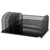 Safco 3254BL 19 3/8 inch x 11 3/8 inch x 8 inch Black 6 Section Mesh Desktop Organizer