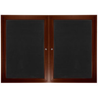 Aarco ADCWW3660R 36 inch x 60 inch Enclosed Hinged Locking 2 Door Walnut Finish Aluminum Indoor Directory Board with Felt Rear Panels