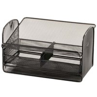 Safco 2160BL Onyx 11 3/4 inch x 9 1/4 inch x 7 inch Steel Mesh Desktop Telephone Stand