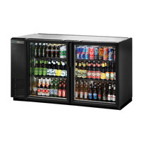 True TBB-24GAL-60G-HC-LD 60 inch Black Narrow Glass Door Back Bar Refrigerator with Galvanized Top and LED Lighting
