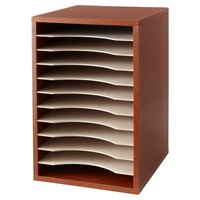 Safco 9419CY 10 3/4 inch x 12 inch x 16 inch Cherry Wood 11 Section Compressed Wood Literature Organizer