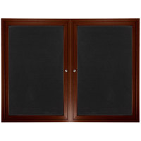 Aarco ADCWW3648R 36 inch x 48 inch Enclosed Hinged Locking 2 Door Walnut Finish Aluminum Indoor Directory Board with Felt Rear Panels