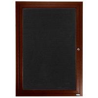 Aarco ADCWW3630R 36 inch x 30 inch Enclosed Hinged Locking 1 Door Walnut Finish Aluminum Indoor Directory Board with Felt Rear Panel