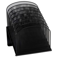 Safco 3258BL 11 1/4 inch x 10 7/8 inch x 13 3/4 inch Black 8 Section Tiered Mesh Desktop Organizer