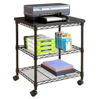 Safco 5207BL 3-Shelf Black Desk Side Wire Printer Stand - 24 inch x 20 inch x 27 inch