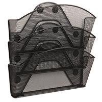Safco 4175BL Onyx Black 3-File Pocket Magnetic Organizer - 13 inch x 4 1/4 inch x 13 1/2 inch