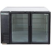 True TBB-24GAL-48G-HC-LD 48 inch Black Glass Door Narrow Back Bar Refrigerator with LED Lighting