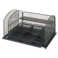 Safco 3252BL 16 inch x 11 1/2 inch x 8 1/4 inch Black 6 Compartment Desktop Organizer