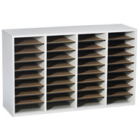 Safco 9424GR Gray 36-Section Wood/Laminate File Organizer - 39 1/4 inch x 11 3/4 inch x 24 inch