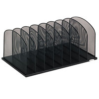 Safco 3253BL 19 1/2 inch x 11 1/2 inch x 8 1/4 inch Black 8 Section Mesh Desktop Organizer