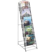 Safco 6461BL Onyx Steel Mesh 5 Compartment Magazine Display Rack