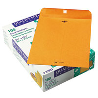 Quality Park 37893 #93 9 1/2 inch x 12 1/2 inch Brown Kraft Clasp / Gummed Seal File Envelope - 100/Box