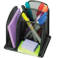 Safco 3250BL Onyx Mini 6 inch x 5 1/4 inch x 5 1/4 inch Black 3 Compartment Desktop Organizer