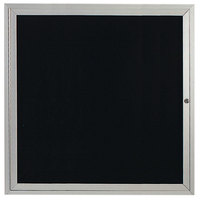 Aarco OADC3636 36 inch x 36 inch Enclosed Hinged Locking 1 Door Satin Anodized Finish Aluminum Outdoor Directory Board with Black Letter Board