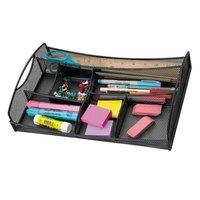 Safco 3262BL 13 inch x 8 3/4 inch x 2 3/4 inch Black 7 Section Mesh Drawer Organizer