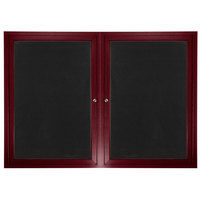 Aarco ADCW3660R 36 inch x 60 inch Enclosed Hinged Locking 2 Door Cherry Finish Aluminum Indoor Directory Board with Felt Rear Panels