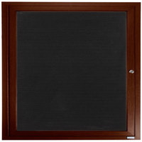 Aarco ADCWW3636R 36 inch x 36 inch Enclosed Hinged Locking 1 Door Walnut Finish Aluminum Indoor Directory Board with Felt Rear Panel