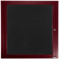 Aarco OADCW3636R 36 inch x 36 inch Enclosed Hinged Locking 1 Door Aluminum with Powder Coated Cherry Finish Outdoor Directory Board with Black Vinyl Letter Board