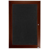 Aarco ADCWW4836R 48 inch x 36 inch Enclosed Hinged Locking 1 Door Walnut Finish Aluminum Indoor Directory Board with Felt Rear Panel