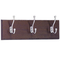 Safco 4216MH 18 inch Mahogany Wood Wall Rack with 3 Double-Hooks