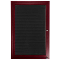 Aarco ADCW4836R 48 inch x 36 inch Enclosed Hinged Locking 1 Door Cherry Finish Aluminum Indoor Directory Board with Felt Rear Panel