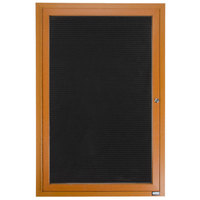 Aarco ADCO3624R 36 inch x 24 inch Enclosed Hinged Locking 1 Door Oak Finish Aluminum Indoor Directory Board with Felt Rear Panel