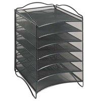 Safco 9431BL Onyx 10 1/4 inch x 12 3/4 inch x 15 1/4 inch Black 6 Section Mesh Desktop Organizer