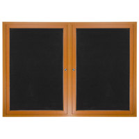 Aarco ADCO3660R 36 inch x 60 inch Enclosed Hinged Locking 2 Door Oak Finish Aluminum Indoor Directory Board with Felt Rear Panels