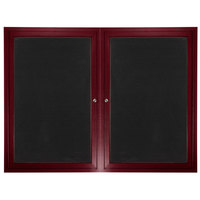 Aarco ADCW3648R 36 inch x 48 inch Enclosed Hinged Locking 2 Door Cherry Finish Aluminum Indoor Directory Board with Felt Rear Panels