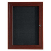 Aarco ADCWW3624R 36 inch x 24 inch Enclosed Hinged Locking 1 Door Walnut Finish Aluminum Indoor Directory Board with Felt Rear Panel