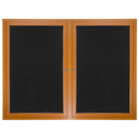 Aarco ADCO3648R 36 inch x 48 inch Enclosed Hinged Locking 2 Door Oak Finish Aluminum Indoor Directory Board with Felt Rear Panels