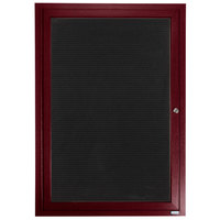Aarco ADCW2418R 24 inch x 18 inch Enclosed Hinged Locking 1 Door Cherry Finish Aluminum Indoor Directory Board with Felt Rear Panel