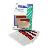 Quality Park 46894 4 1/2 inch x 5 1/2 inch Clear / Orange Top Print Packing List Envelope with Window and Self Adhesive Seal - 100/Box