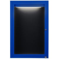 Aarco OADC3624IB 36 inch x 24 inch Enclosed Hinged Locking 1 Door Powder Coated Blue Aluminum Outdoor Lighted Message Center with Black Letter Board