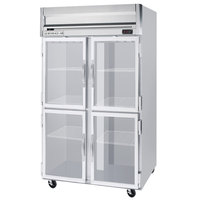 Beverage Air HF2-1HG-LED 2 Section Glass Half Door Reach-In Freezer - 49 cu. ft., Stainless Steel Front, Gray Exterior