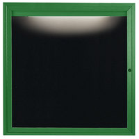 Aarco OADC3636IG 36 inch x 36 inch Enclosed Hinged Locking 1 Door Powder Coated Green Aluminum Outdoor Lighted Message Center with Black Letter Board